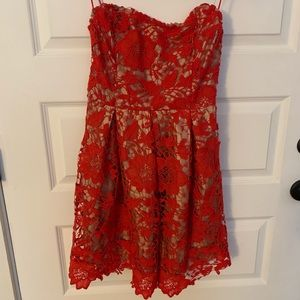 2/20$ Lush red & tan dress M